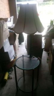 Side table with small lamp