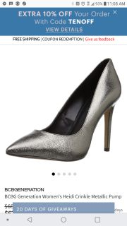 BCBG Generation Heidi Metallic Pumps. Size 10. Pre-Owned. Great Condition