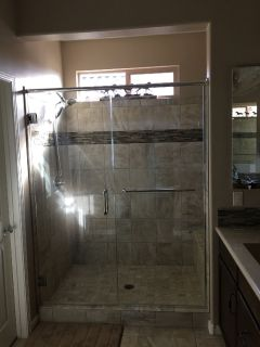 Designer master bath shower glass doors
