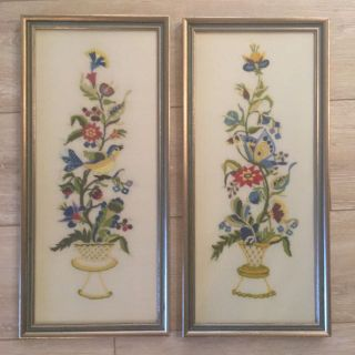 Large Vintage 1970s Crewel Embroidery Birds and Flowers Framed Linen Pieces