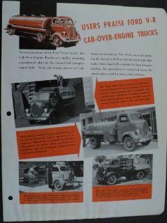 Buy 1939 Ford V8 Cab Over Engine Truck Original Dealer Brochure Leaflet motorcycle in Holts Summit, Missouri, United States, for US $24.39