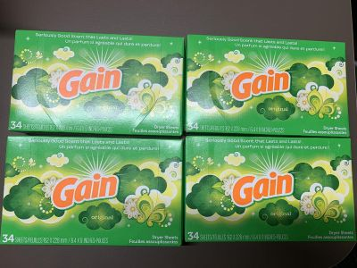 4 boxes Gain Dryer sheets 34 cts