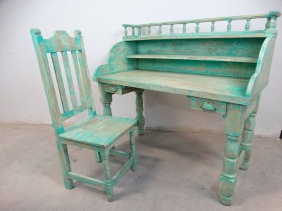 Rustic Green distressed Desk & Chair