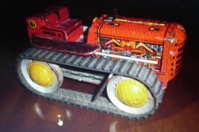 "9"" VINTAGE 50'S MARX TIN LITHO WIND UP DIESEL 12 TRACTOR - WORKING!!"