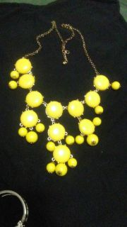 SWEATER LENGTH YELLOW COCKTAIL BIB NECKLACE