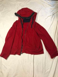 Red Nautica sweatshirt with gray fuzzy hood men s size Large