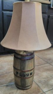 Flour Barrel Vintage Looking Lamp.. Small scratch on shade. Gives it character