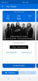 Korn and alice in chains PIT tickets