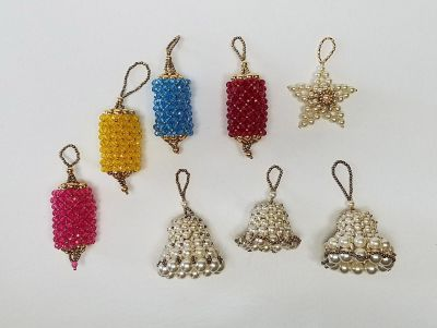 8 Unique Handmade Beaded Lot Christmas Tree Ornaments $6 ALL