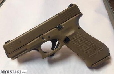 For Sale: GLOCK 19X 9mm Pistol, Coyote Cerakote, 3 Magazines, 1-17 Rd & 2-1+19 Round, Coyote Backstraps & Case