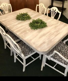 Antique Table w/ 6 Chairs