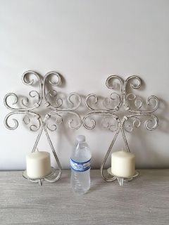 2 Iron Candle Holders with Candles