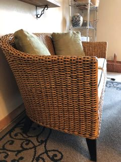 rattan bench with table