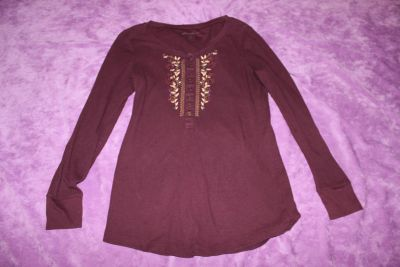 Eddie Bauer Embroidered, Beaded Brick Red Long Sleeve Shirt Size Large
