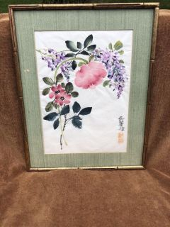 LOVELY ANTIQUE CHINESE ORIGINAL WATERCOLOR PAINTING AND CALLIGRAPHY ON THIN RICE PAPER WITH PLATE RED SEALED