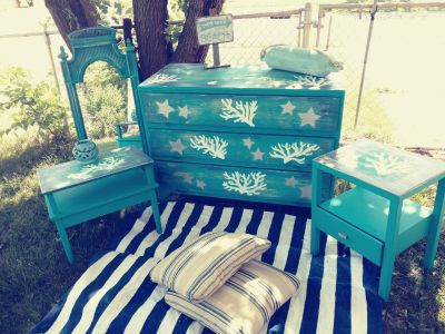 Coastal dresser and 2 nightstands and mirror