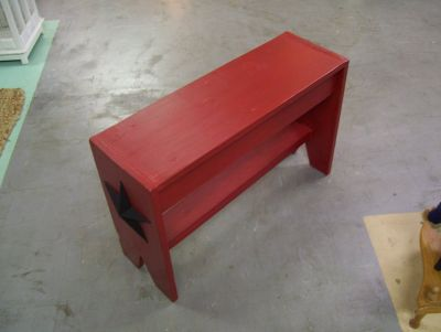Red Rustic Chalk Painted Bench with Tin Star Accents