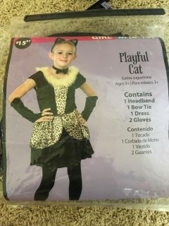 Girls 8-10 playful cat costume. All items included on package