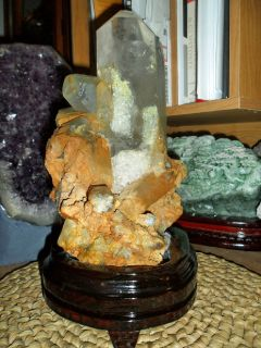 Massive Point Exceptionally a Gorgeous and Beautiful Crystal Cluster on a Wooden Base