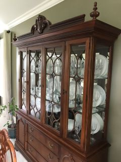 Heirloom quality cherry wood table chairs and hutch