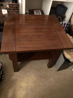 Solid wood end table a little dusty