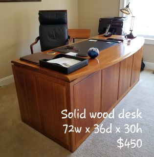 Solid wood desk and leather chair