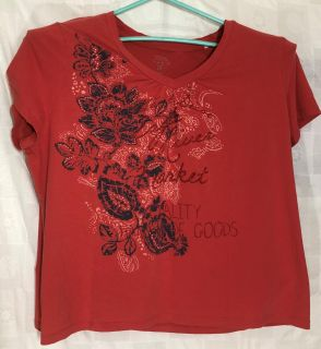 Sonoma Women's Top Plus Size 3X Red Short Sleeve Floral Pattern