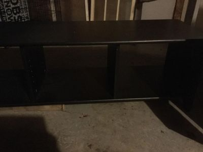 Wooden storage bench with organization area. 75 x 18 deep. Black color, sorry I don t have much light.