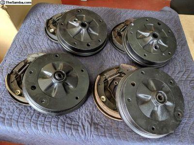 66-67 Front/Rear Brake Set w/Backing Plates, Shoes