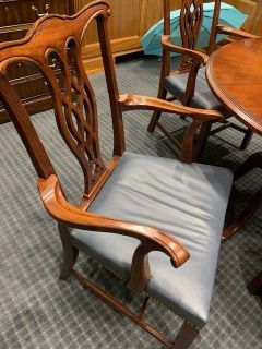 Set of Four Wood Hickory Chairs,antique blue leather seats