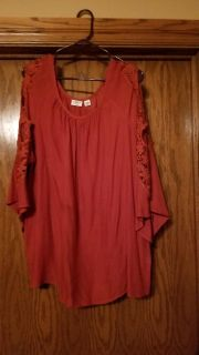 Burnt Orange top with lace o sleeves