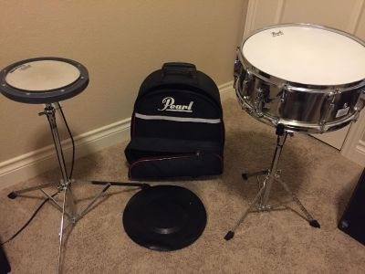 Snare drum and practice pad