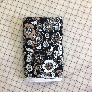 Like New! Black/Tan/White Floral Fabric 140x45""