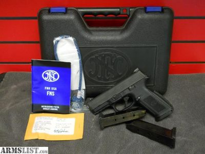 For Sale: FN Herstal FNS-40 With Polished Stainless Steel Accents / Dressing Semi-Auto .40 S&W Pistol Comes With Extra Back Strap, Test Rounds, Lock, Case, Manuals, 3 14 Round Magazines $349.99