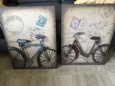 2 Vintage bike wall decorations