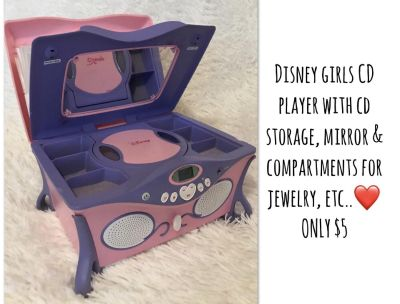 $5 Disney CD Player w/ CD holders & compartments for jewelry, etc..