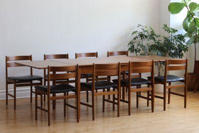 Mid Century Danish Modern 8 Chair Teak Dining Set