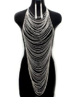 $38 NEW Chunky Body Necklace & Earring Set Long Body Chain Women Harness 1312
