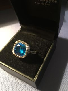 Blue topaz and sterling silver size 7