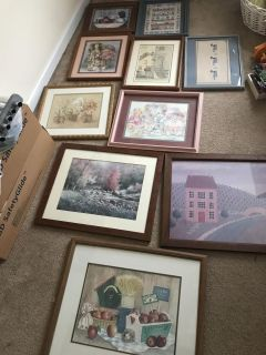 10 picture frames (various sizes, listed below)
