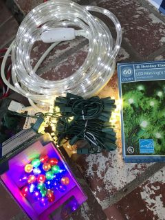 LOT OF HOLIDAY XMAS LIGHTS! 2 SETS NEW IN BOX! 2 LED STRANDS. 4 SETS TOTAL! ALL WORKING!