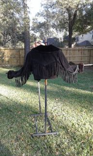 FABULOUS BLACK SUEDE FRINGED JACKET w/FAUX FUR COLLAR & CUfFS