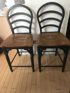2 Two Tone Black Brown Counter Height Chairs