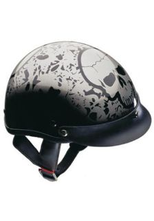 Sell NEW DOT SILVER SKULL HALF-BEANIE MOTORCYCLE HELMET-MED motorcycle in West Bend, Wisconsin, US, for US $34.49