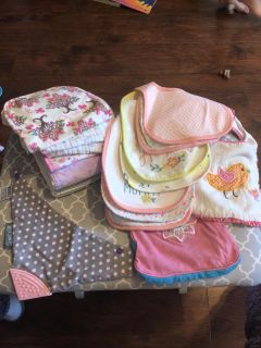 Girl Burp clothes and bibs