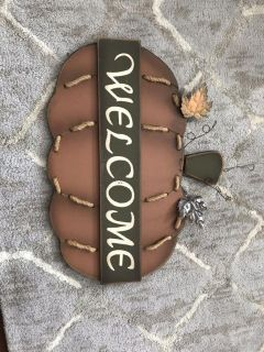 Outdoor fall welcome sign