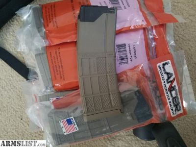 For Sale: 8 (NEW) Lancer opaque FDE AR-15 magazines