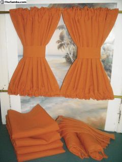VW Orange Curtains with Cabin Divider Fits Bays