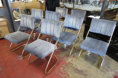 Vintage Mid century set of 8 brass dining chairs