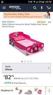toddler minni mouse bed